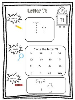 "Letter ""T"" Trace it, Find it, Color it.  Preschool printable worksheet. Daycare."