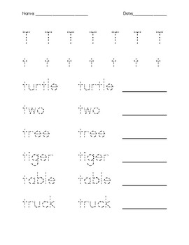Letter T Tracing and Quiz