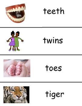 Letter T Vocabulary Cards