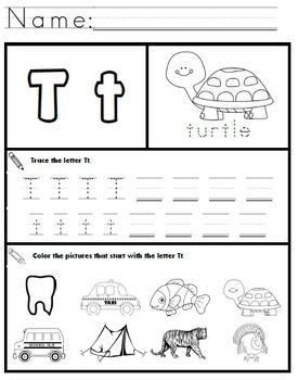 Letter T Worksheets!