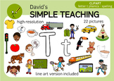 Letter T phonics - spelling clipart with free preview