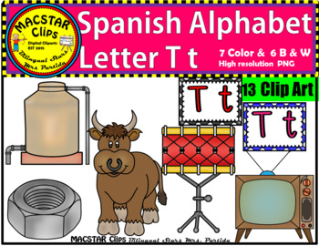 Letter T t Spanish Alphabet Clip Art   Letra Tt Personal and Commercial Use