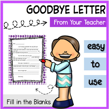 Letter Template From Teacher to Students End of Year Goodbye