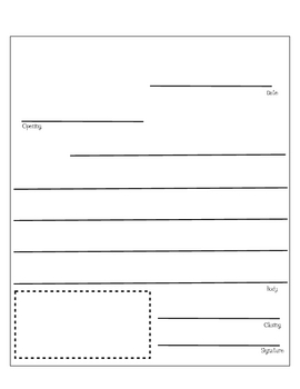 friendly letter template lines teaching resources teachers pay
