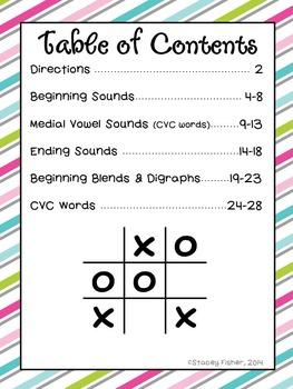 Letter Tic Tac Toe-Beginning, Middle, & Ending Sounds, Blends, Digraphs, CVC