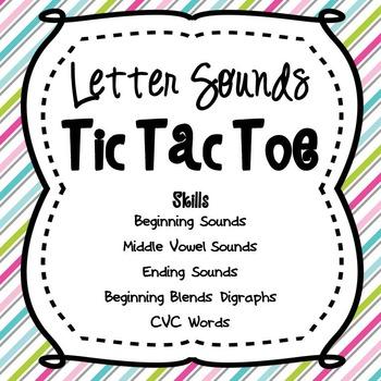Letter Tic Tac Toe-Beginning, Middle, & Ending Sounds, Ble