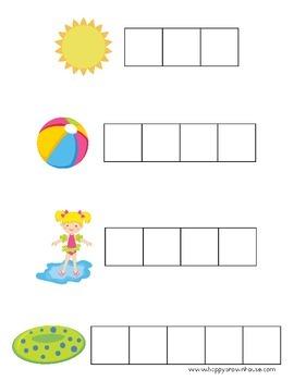 Summer Letter Tiles Spelling Mat