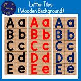Alphabet Letter Tiles Clipart - Wooden Background (FREE)