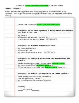 Letter To Future Students (End of Year Assignment or Sub Plans)