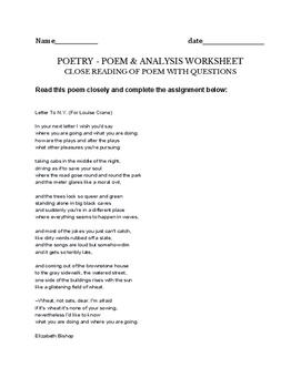 Letter To N.Y. (For Louise Crane) Elizabeth Bishop Poetry Assignment - worksheet