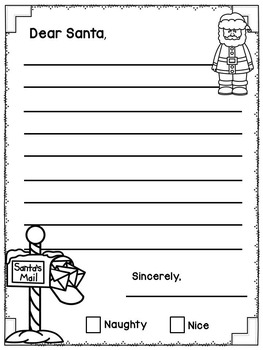 Letter To Santa - Writing Template