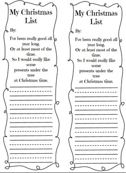 Letter To Santa and Christmas List
