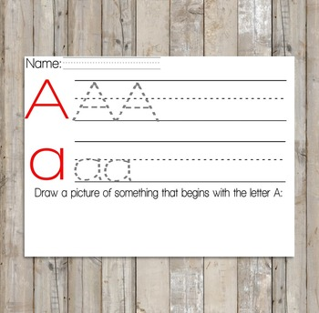 Letter Trace Page - Letter A - Practice Writing Page - Alphabet Practice Pages