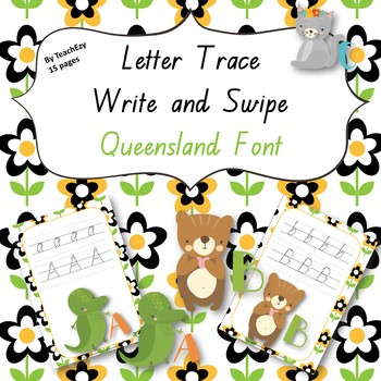 Letter Trace Write and Swipe QLD Font