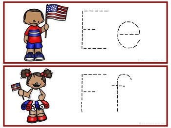 Letter Tracing Cards-4th of July