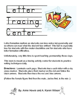 Letter Tracing Activity Center with Phoneme Mouth Shapes