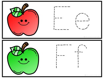 Letter Tracing Cards-Apple Themed