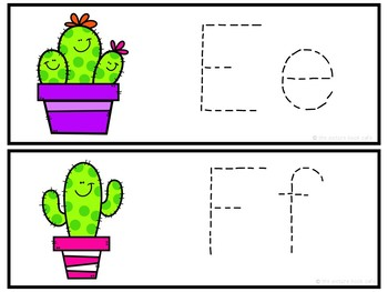 Letter Tracing Cards-Cactus Themed