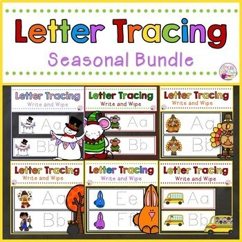 Letter Tracing Cards-Seasonal Year Long Bundle