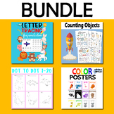 Letter Tracing, Counting Objects Space Themes, Dot to Dot, Color Posters Bundle