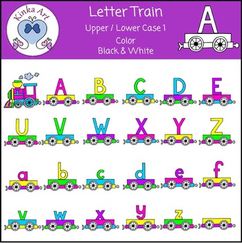 Letter Train (Upper & Lower Case) Clip Art - Highlight Colors