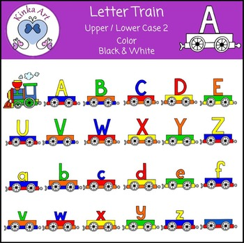 Letter Train (Upper & Lower Case) Clip Art - Primary / Standard Colors