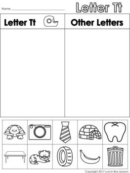Letter Tt Beginning Sound Sort/Phonemic Awareness
