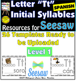 Letter Tt  Initial Syllables  in Spanish for Seesaw  Level 1