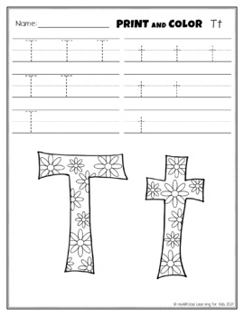 Letter Tt Printing and Pattern Coloring Worksheets