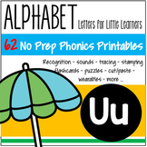 Alphabet U Letter of the Week Phonics Recognition, Sound, Tracing & Craftivities