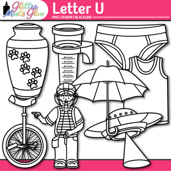 Letter U Alphabet Clip Art {Teach Phonics, Recognition, and Identification} B&W
