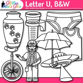 Letter U Alphabet Clip Art {Teach Phonics, Recognition, and Identification} B&W