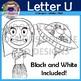 Letter U Clip Art (Up, Umbrella, UFO, Ukulele, Umpire, Unicycle)