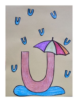 Letter U Cut/Paste Craft Template - U is for Umbrella