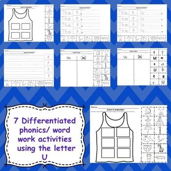 Letter U Activities  (emergent readers, word work worksheets, centers)