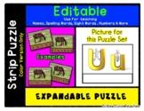 Letter U - Expandable & Editable Strip Puzzle with Multipl