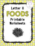 Letter U Foods Printable Worksheets