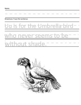 Letter U for Umbrella Bird Handwriting Practice and Questions!