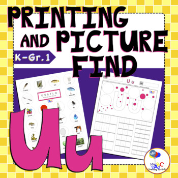 Letter Uu Printing and Picture Find Worksheets