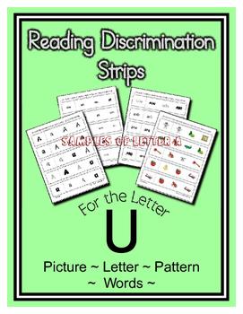 Letter U Reading Discrimination Strips for Fluency and Rec