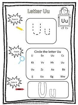 "Letter ""U"" Trace it, Find it, Color it.  Preschool printable worksheet. Daycare."