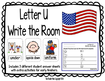 Letter U Write the Room- Includes 3 levels of answer sheets