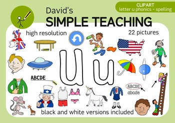 Letter U phonics - spelling clipart with free preview