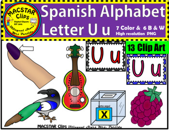 Letter U u Spanish Alphabet Clip Art   Letra Uu Personal and Commercial Use