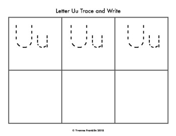 Letter Uu Color, Trace & Write the Room
