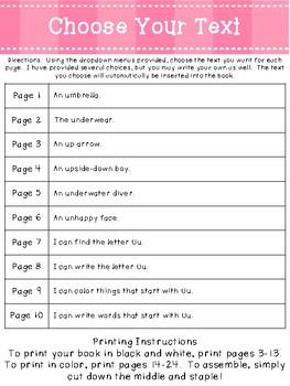 Letter Uu *Editable* Alphabet Emergent Reader