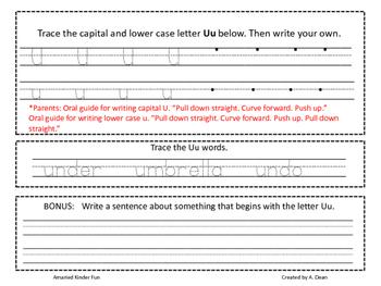 Letter Uu Homework Menu