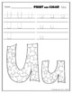 Letter Uu Printing and Pattern Coloring Worksheets