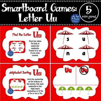 Letter Uu Smartboard Games (5 mini games) (Smartboard/Promethean Board)
