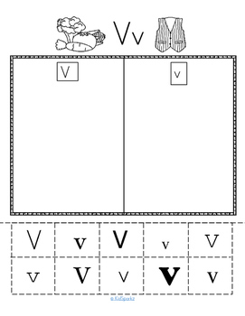 Letter V Recognition, Sound, Tracing and Craftivities
